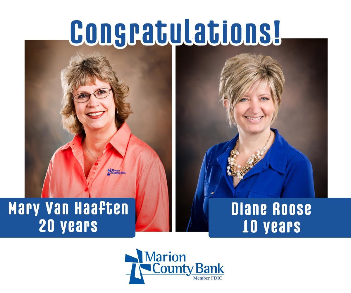 Double Years of Service Mary and Diane