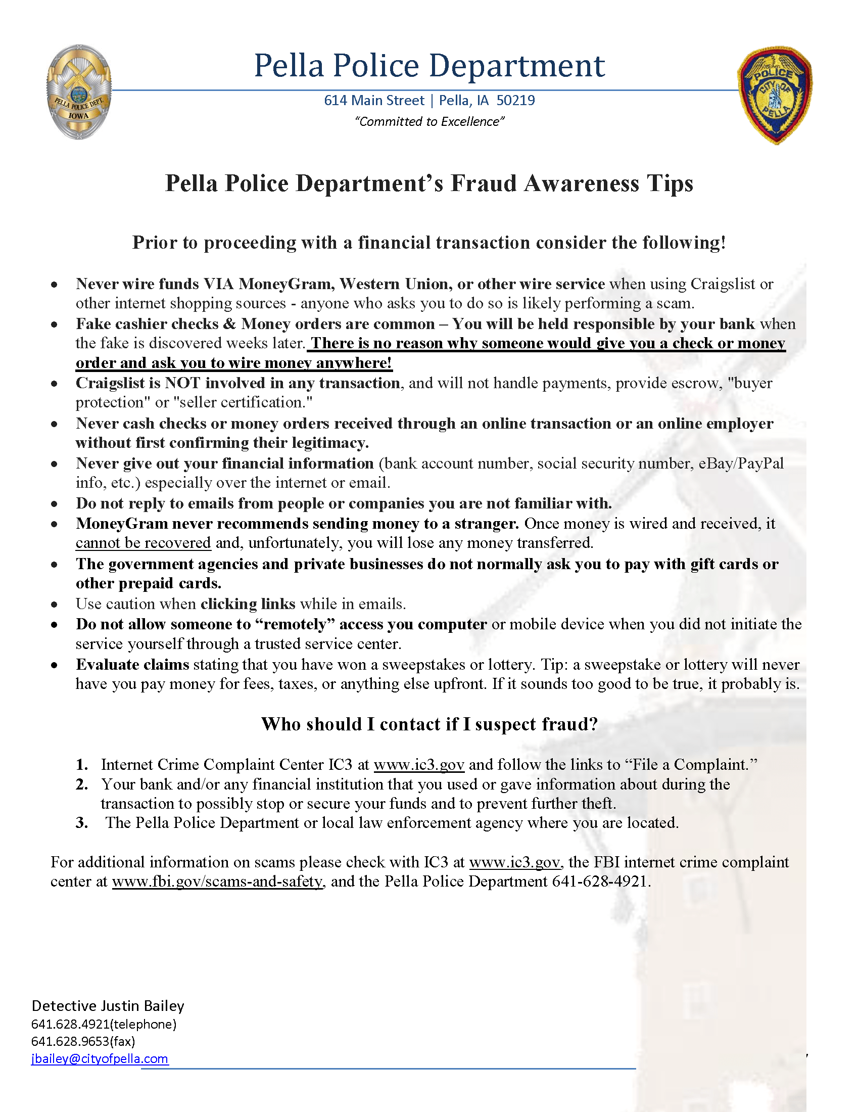 Pella Police Dept Fraud Tips Page 1